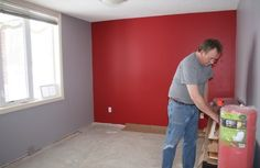 Boys room pocket and closet wall Red, others grey.. St. Louis Cardinals colors