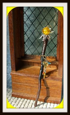 Gothic Witch Wizard Sunrise staff dollhouse miniature staff ooak mother nature