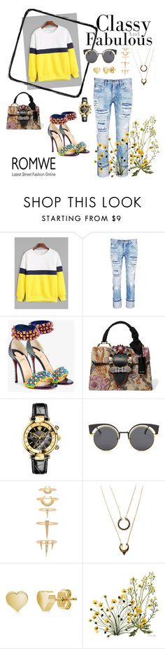 """Sunshine Yellow"" by tainted-scars ❤ liked on Polyvore featuring Tortoise, Christian Louboutin, Miu Miu, Versace, Luv Aj, WithChic and BERRICLE"