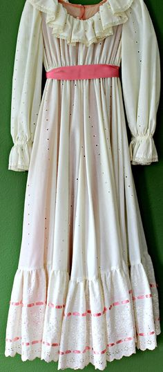 Vintage 1970s White and Pink Eyelet Maxi by InPursuitVintage, $40.00