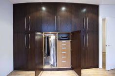 Fitted bedroom wardrobe, dark wood - Increation