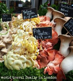 London's historic Borough Market is a foodie's dream. Situated beneath London Bridg on the South Bank,, it's a great place to visit during your trip. Click through to read more. #food #foodie #mushrooms #British #UK