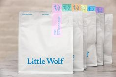 The new packaging from Little Wolf Coffee in Ipswich, Massachusetts. Candle Packaging, Bag Packaging, Coffee Packaging, Chocolate Packaging, Bottle Packaging, Product Packaging, Packaging Ideas, Food Packaging Design, Packaging Design Inspiration
