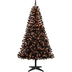 Holiday Time Pre-Lit 6.5' Madison Pine Artificial Christmas Tree, Black, Clear Lights