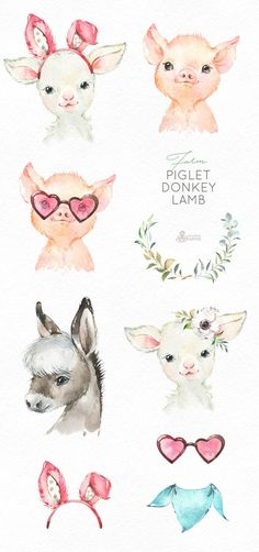 Watercolor little animals clipart baby pig country fun sunglasses flowers wreath kids nursery art baby-shower Baby Animal Drawings, Easter Drawings, Clipart Baby, Baby Donkey, Baby Pigs, Watercolor Images, Watercolor Animals, Baby Farm Animals, Cute Animals
