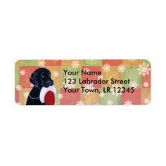 Black Labrador with Santa Hat Snowflake Mosaic Return Address Label by Naomi Ochiai