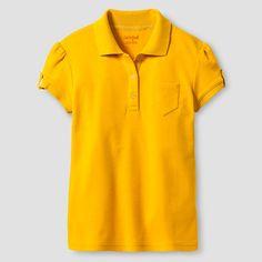 Girls' Interlock Polo Shirt - Cat & Jack, Girl's, Size: Medium, Zinnia Gold