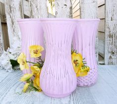 Lavender SHABBY CHIC Glass Painted Vases Set of by HuckleberryVntg, $29.00