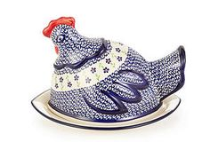 """""""Roosting Hen"""" Covered Tray ~~ Polish Pottery hand-painted stoneware."""