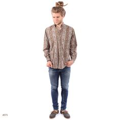 Vintage Boho Mens Shirt / Antique Print Cotton / by BetaPorHomme, $32.00