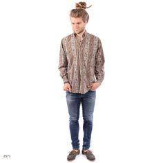 Vintage Boho Mens Shirt / Antique Print Cotton / by BetaPorHomme, $32.00