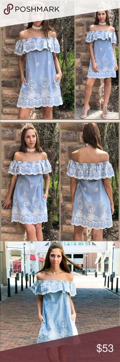 Embroidered Denim Dress Incredibly beautiful off shoulder denim dress. Featuring the hot trending white embroidery detail, 2 side pockets and a scalloped hemline. Made of a high quality cotton. Size S, M, L                                                           Denim off shoulder dress   Small  Bust 36 Length 29 Shoulder to shoulder stretches from 13-25  Medium  Bust 38 Length 30 Shoulder to shoulder stretches from 15-28  Large  Bust 40 Length 31 Shoulder to shoulder stretches from 16-29…