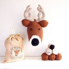 Knitted Taxidermy knit kits from Sincerely Louise | Finally you can make your own knitted animal head! This reindeer is a favourite of ours
