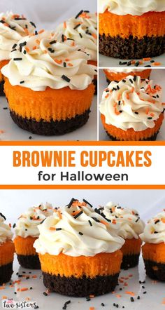 Everyone at your Halloween Party will be impressed when you serve these yummy Brownie Cupcakes Brownies cupcakes Delicious And they are easy to make too Great for a cro. Brownie Cupcakes, Cupcake Cakes, Party Cupcakes, Pumpkin Cupcakes, Köstliche Desserts, Holiday Desserts, Delicious Desserts, Health Desserts, Soirée Halloween
