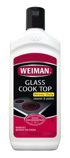 After 5 years of trying to figure out the best way to keep my glass cook top looking great, I've found it! Weiman has this for getting off the heavy duty stuff (along with a scrubbing pad & a hand tool to affix it to for ease of use), and a product for every day cleaning that leaves your cook top looking shiny, not filmy.  Love, love this!  Also cleans glass shower doors pretty darned well.  :)