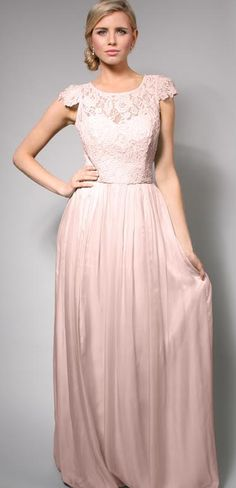 Bridesmaid dress - floor length with little cap sleeves = very modest. Would love this in white for a wedding dress