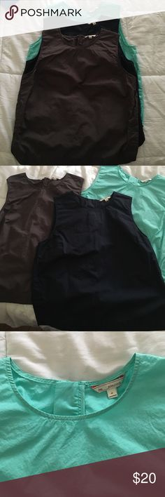 Gap sleeveless tops Bundle of 3 sleeveless tops from gap. Grey, navy blue, aquamarine colors. In great condition. All size M GAP Tops Tank Tops