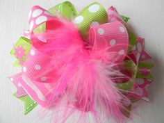 Over the top Lime and Pink Hair bows Polka by bubblesandcompany
