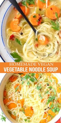 Homemade vegan vegetable noodle soup from scratch featuring classic angel hair style long noodles, carrot, celery and tons of fresh Italian parsley. Healthy Chicken Recipes, Soup Recipes, Vegetarian Recipes, Great Recipes, Recipies, Vegetable Noodle Soup, Green Smoothie Recipes, Vegan Desserts, Eating Habits