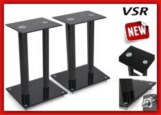 Pair Of Floor Home Cinema Speaker Stands Surround Sound Audio Glass Furniture HQ