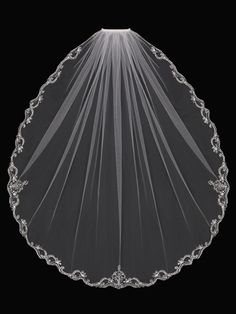 just stunning! Fingertip Wedding Veil with Beaded Silver Embroidery V1794SF - Affordable Elegance Bridal -
