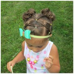 Crossed elastics with microbraids into pigtail messy buns today for twinning w. Easy Toddler Hairstyles, Easy Little Girl Hairstyles, Baby Girl Hairstyles, Pretty Hairstyles, Special Occasion Hairstyles, Holiday Hairstyles, Girl Hair Dos, Marley Hair, Hair Supplies