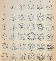 Reference guide for drawing the platonic solids