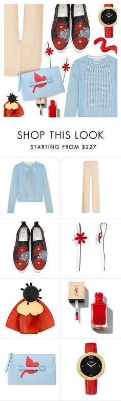 """Light Blue & Red"" by stacey-lynne ❤ liked on Polyvore featuring Tory Burch, Roland Mouret, MSGM, Marni, RED Valentino, Fendi and Topshop"