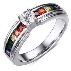 Rainbow Pride Ring with Zircon Austrian Crystal