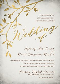 Gold leaf wedding invitation.