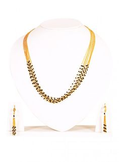 Mangalsutra Necklace and Earrings Set with Tiny Black Beads