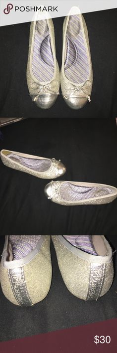 Sparkly silver sperry's These super sparkly flats can dress up any outfit while still keeping your feet comfortable! Sperry Top-Sider Shoes Flats & Loafers