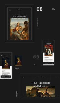 Louvre on Behance Minimal Web Design, Modern Web Design, Web Ui Design, Web Design Trends, Design Design, Hotel Website Design, Website Design Layout, Website Design Inspiration, Graphic Design Templates