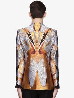 ALEXANDER McQUEEN GOLD AND IVORY DRAGONFLY WINGS JACQUARD BLAZER