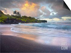 Waves Crashing onto Waianapanapa Black Sand Beach Near Hana, Maui, Hawaii, USA
