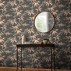 A remastered Graham and Brown archive piece, this beautiful wallpaper will add a touch of organic Far East to your décor. Features Country of Manufacture: United Kingdom Drop Size: in Available in Earth, Midnight or Sky color Bamboo Wallpaper, Home Wallpaper, Black Wallpaper, Wallpaper Roll, Beautiful Wallpaper, Cotton Painting, Wallpaper Please, Joinery Details, Bamboo Leaves