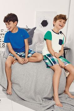 Blue/Green Sporty Check Woven Pyjamas Two Pack – Kids Fashion Cute 13 Year Old Boys, Young Cute Boys, Cute Little Boys, Cute Teenage Boys, Boys Pjs, Boys Pajamas, Kids Boys, Pyjamas, Boys Summer Outfits