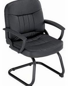 Trexus County Visitor Chair Leather Cantilever Back H500mm Seat  W520xD480xH460mm Black No Description (Barcode EAN