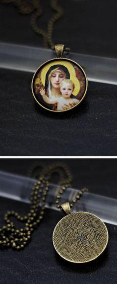 #medal #religious #jewelry #necklace #cabochon #glass #virgin #mary #our #lady #jesus #christ #god #bible #amen #bronze #etsy #christian #catholic #pendant #ex #voto #cross #crucifix #saint