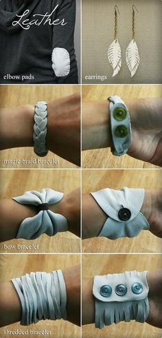 Leather jewelry tutorial and leather elbow patch @ DIY Home Crafts