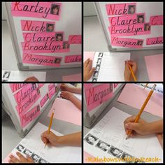 I like the idea of having papers with just pictures of the kids and the students have to find the cards to write the correct friends names