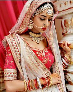 Indian Bride in Traditional Red Wedding Lehenga with white contrast net lehenga dupatta. Beautiful Indian Brides, Beautiful Indian Actress, Beautiful Bride, Dead Gorgeous, Indian Bridal Photos, Indian Bridal Fashion, Bridal Outfits, Bridal Dresses, Red Wedding Lehenga