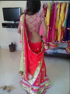 beautiful fuchsia lehenga and backless blouse Best Blouse Designs, Sari Blouse Designs, Choli Designs, Mehndi Designs, Indian Dresses, Indian Outfits, Indian Blouse, Desi Clothes, Indian Couture