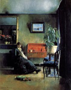 Blue Interior, 1883 (National Museum of Art, Architecture and Design, Oslo, Norway) by Harriet Backer Norwegian) Spanish Artists, Dutch Artists, French Artists, Oslo, Figure Painting, Painting & Drawing, Art Deco Artists, Guache, Expositions