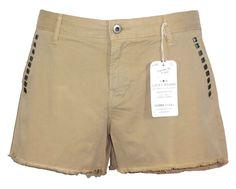 Lucky Brand Womens Shorts SIENNA Studded Chino Cutoffs Khaki Sz 8/29 NEW $79.50 #LuckyBrand #CasualShorts