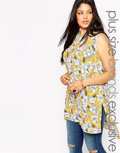New Look Inspire Floral Print Tunic Top