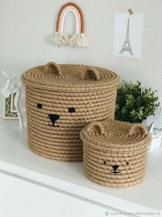 Diy Crafts For Home Decor, Diy Crafts To Sell, Diy Crafts For Kids, Boutique Deco, Jute Crafts, Rope Basket, Boho Diy, Crochet Home, Kids Room