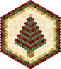 Hexie Christmas Tree Table Topper | Here's a different type of design for English Paper Piecing lovers! And there just can't be too many table toppers made to celebrate Christmas, can there?