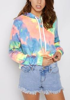 Rue 21 Rainbow Tie Dye Cropped Hoodie Found on my new favorite app Dote Shopping #DoteApp #Shopping