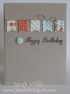 Sweet, simple birthday card using Banner Blast stamp set and Bitty Banner punch.
